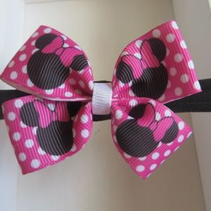 Minnie mouse theme bow on a nylon headband